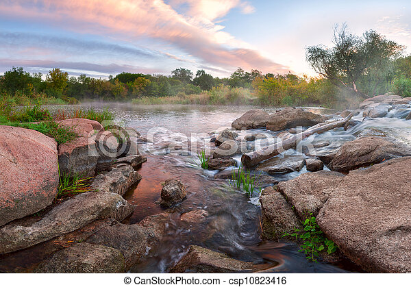 Mountains river and majestic clouds - csp10823416