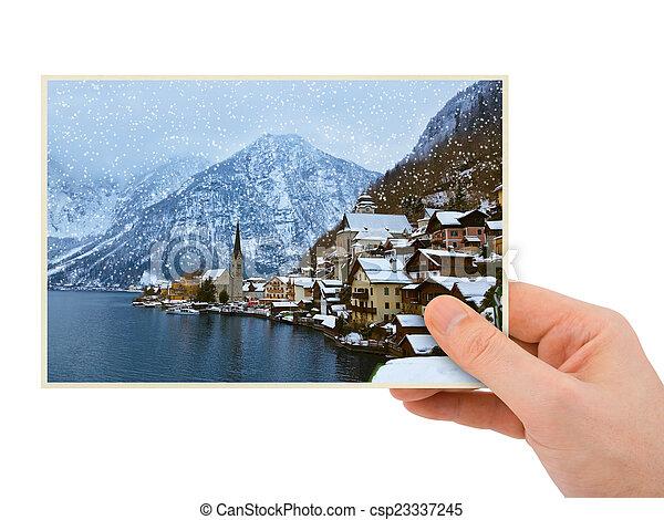 Mountains ski resort Hallstatt Austria photography in hand - csp23337245