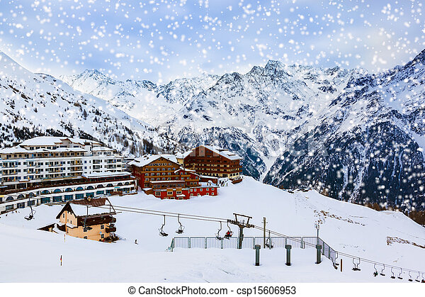 Mountains ski resort Solden Austria - csp15606953