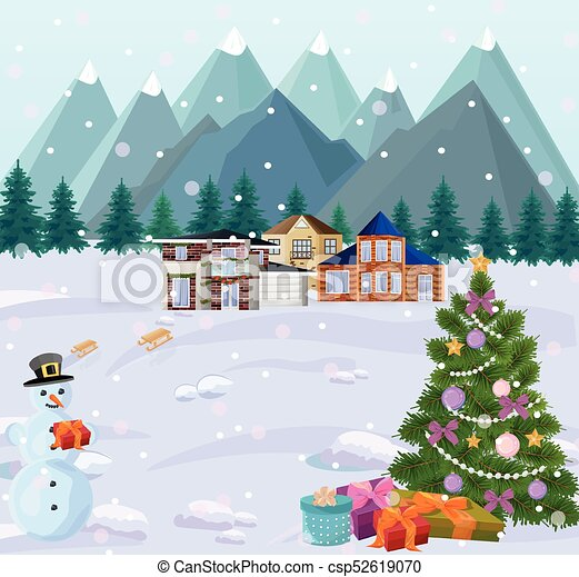 Mountain Christmas Tree.Mountains View In Winter Holidays Little Houses Christmas Tree And Snowman Snowy Backgrounds
