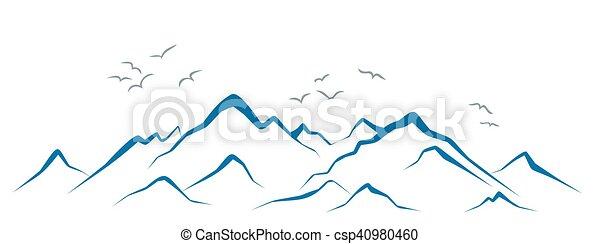 Mountains with birds. - csp40980460