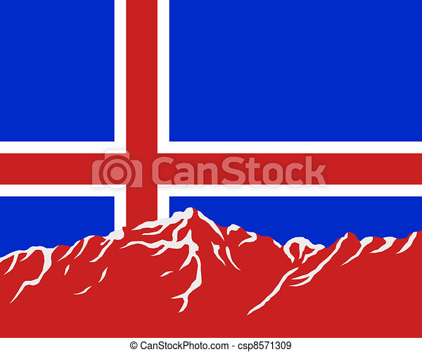 Mountains with flag of Iceland - csp8571309