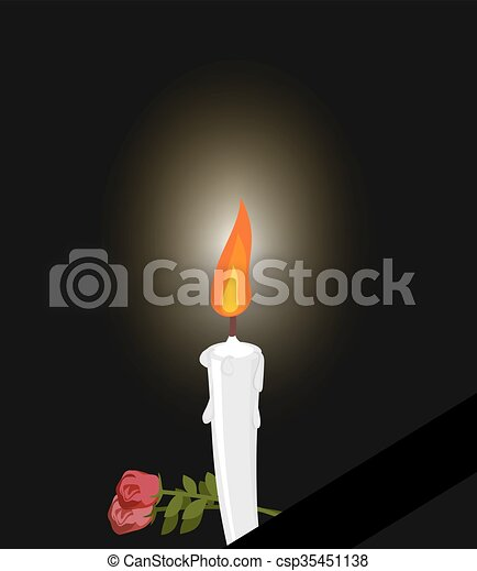 Mourning. Mourning figure white candle and flowers. Darkness and fire candles - csp35451138