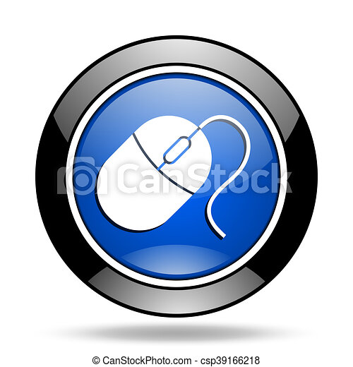 mouse blue glossy icon - csp39166218