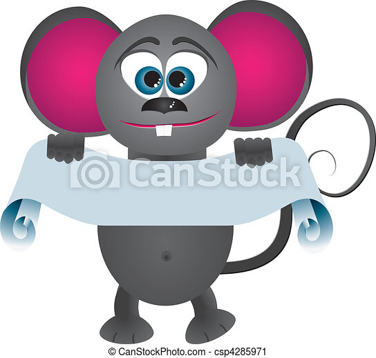 Mouse cartoon keeps scrol for text, vector illustration - csp4285971