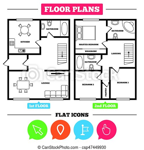 Architecture Plan With Furniture House Floor Plan Mouse Cursor
