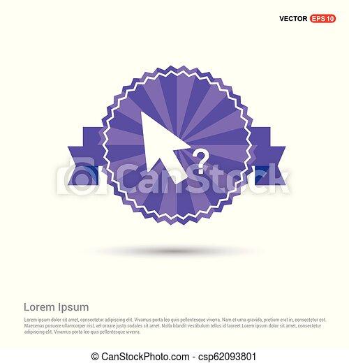 Mouse cursor question icon - Purple Ribbon banner - csp62093801