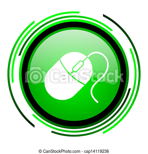 mouse green circle glossy icon - csp14119236