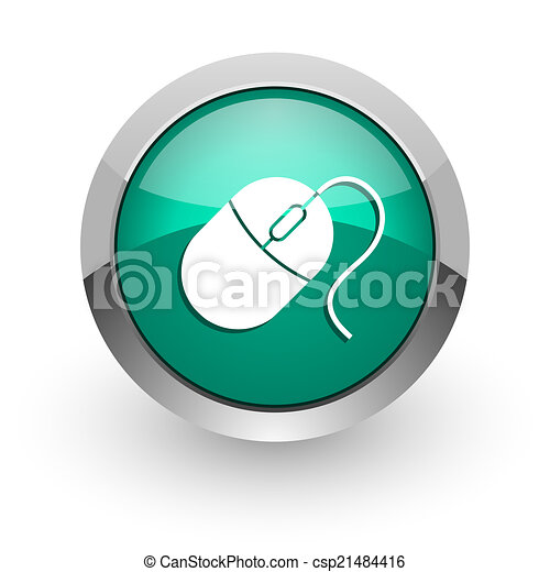 mouse green glossy web icon - csp21484416