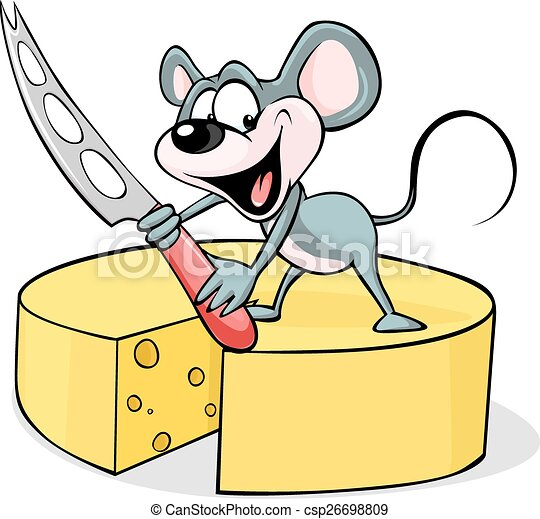 mouse holding a cheese knife - vect - csp26698809