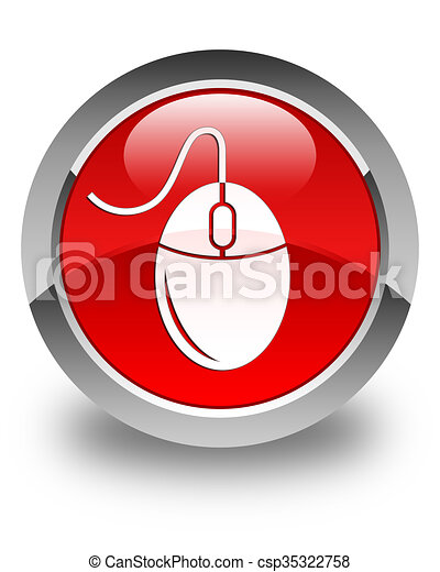 Mouse icon glossy red round button - csp35322758