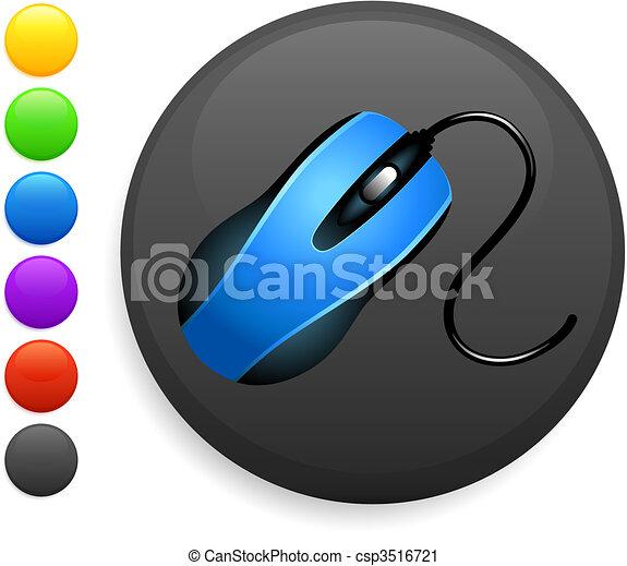 mouse icon on round internet button - csp3516721