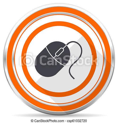 Mouse silver metallic chrome round web icon on white background with shadow - csp61032720