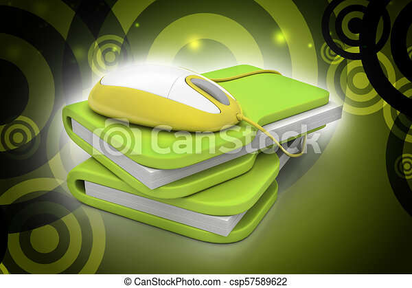 mouse with file folder - csp57589622