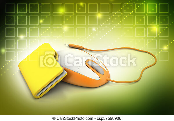 mouse with file folder - csp57590906