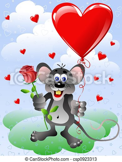 Mouse with heart balloon - csp0923313