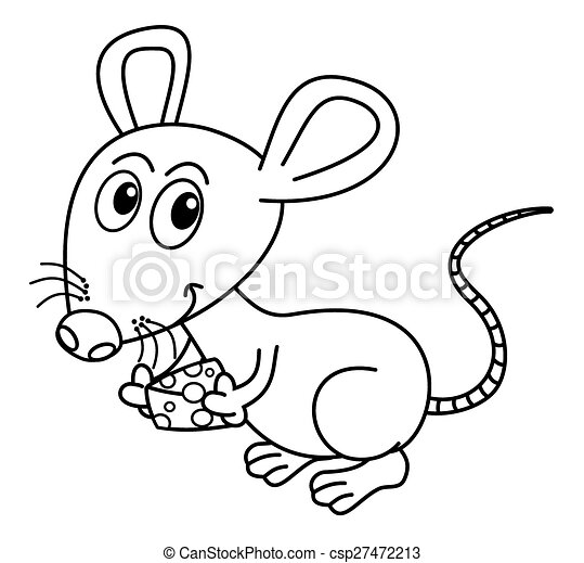 mouse with his piece of cheese for  - csp27472213