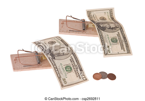 mousetrap with american money - csp2692811