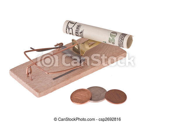 mousetrap with american money - csp2692816
