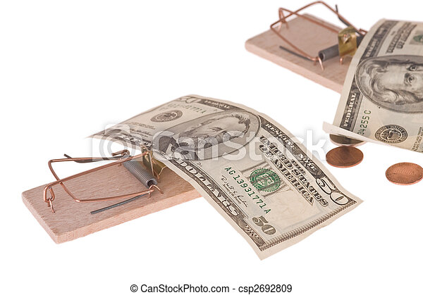 mousetrap with american money - csp2692809