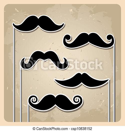 moustache, ensemble, vecteur, hipster - csp10838152