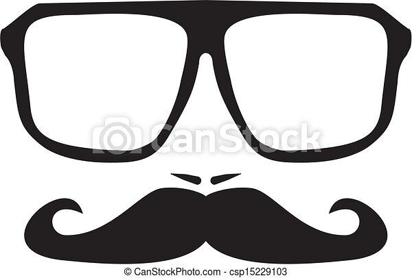 moustache, hommes, figure, vecteur - csp15229103