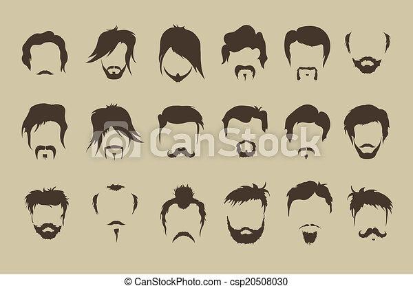 moustache, set., vecteur, cheveux, barbe - csp20508030