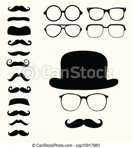 moustaches, chapeau, retro, lunettes - csp10917983