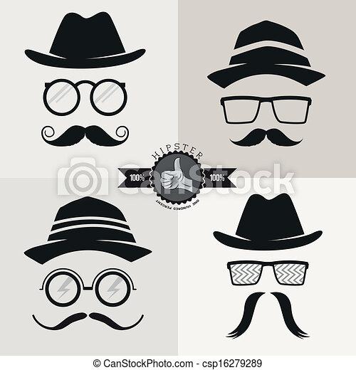 moustaches, hipster, chapeaux, lunettes, & - csp16279289