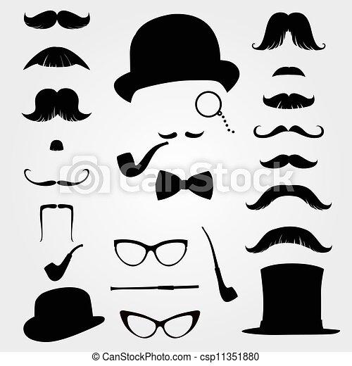 moustaches, retro, accessoires - csp11351880