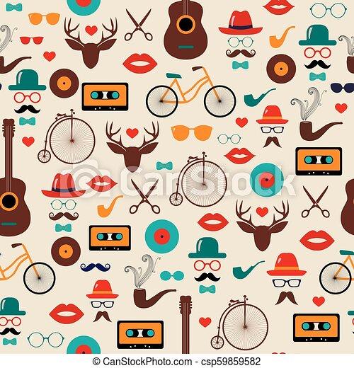 Hipster colorido retro vector vintage sin costura. Ilustraciones de sombreros, gafas, labios y bigotes. - csp59859582