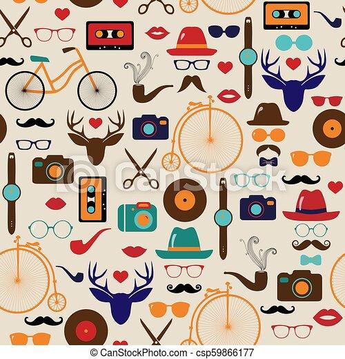Hipster colorido retro vector vintage sin costura. Ilustraciones de sombreros, gafas, labios y bigotes. - csp59866177