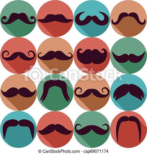 Una colección de bigotes. Ilustración de vectores de símbolos de tendencia. - csp69071174