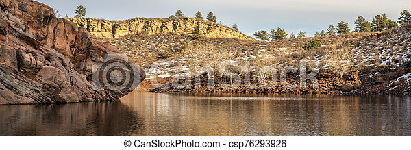 moutain lake in winter scenery at Colorado foothills - csp76293926