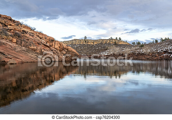 moutain lake in winter scenery at Colorado foothills - csp76204300