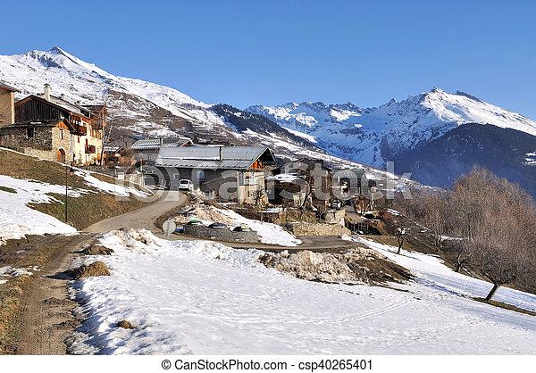 moutain village in winter - csp40265401