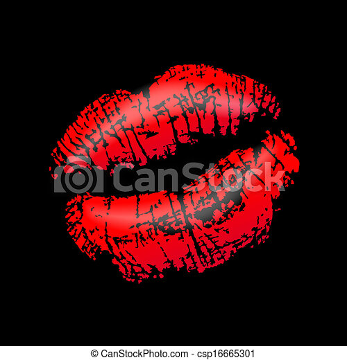 Mouth with red lipstick on black background.