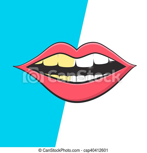 Mouth - Teeth Cleaning Symbol. Vector Retro Mouth Hygiene Illustration. White and Yellow Teeth on Mouth. - csp40412601