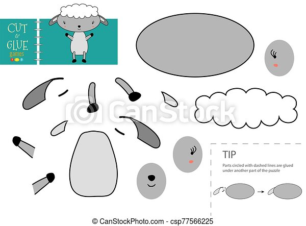 mouton, colle, vecteur, papier, caractère, activité, pédagogique, toy., coupure - csp77566225