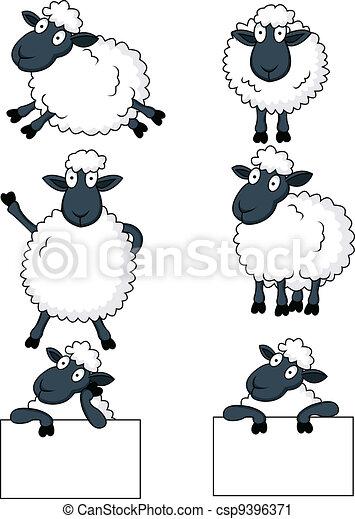 mouton, dessin animé - csp9396371