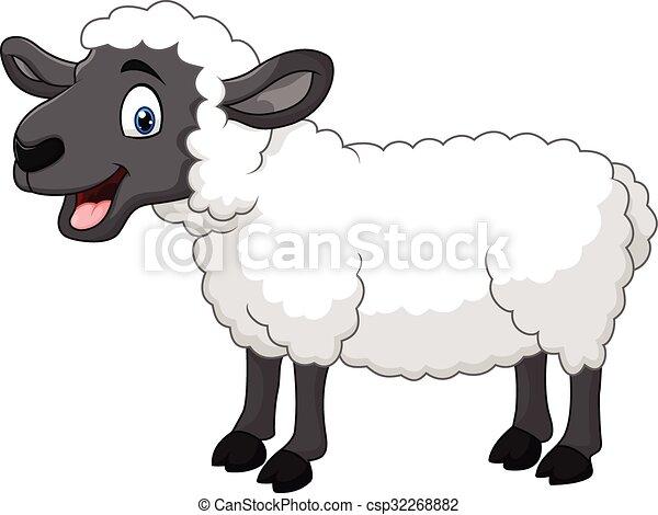 Mouton heureux poser isol dessin anim mouton isol - Mouton dessin anime ...