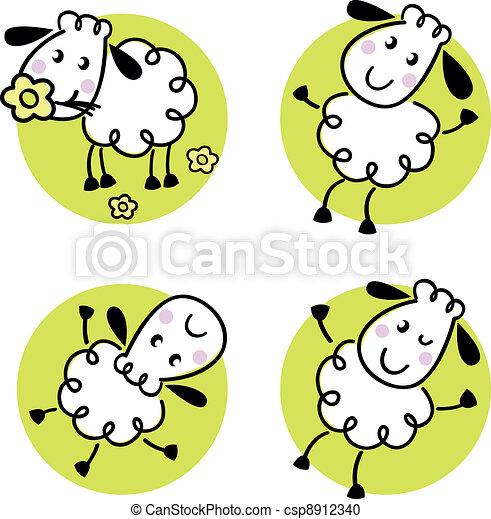 Mouton mignon ensemble griffonnage isol blanc - Dessin mouton rigolo ...
