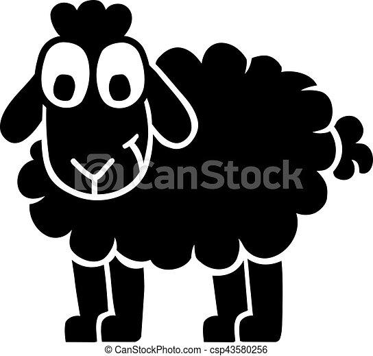 Mouton rigolote noir dessin anim clipart vectoriel - Mouton dessin anime ...