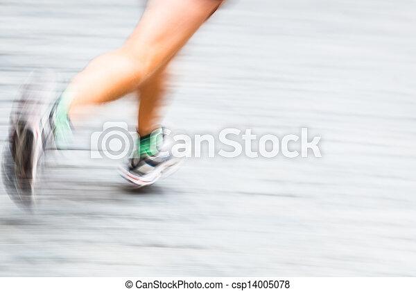 mouvement, pieds, coureur, ville, environnement, brouillé - csp14005078