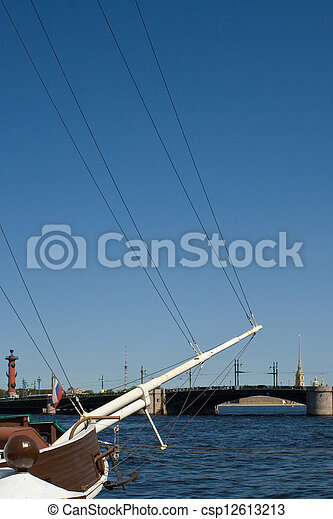movable bridges on the River Neva and Petrov's Palace. St. Petersburg. Russia. - csp12613213