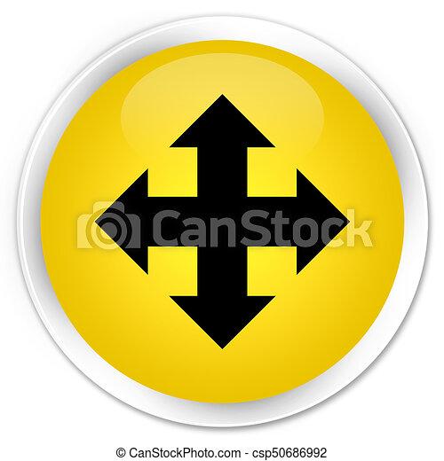 Move icon premium yellow round button - csp50686992
