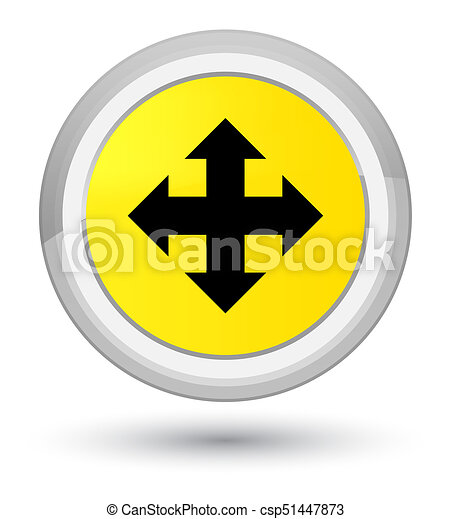 Move icon prime yellow round button - csp51447873