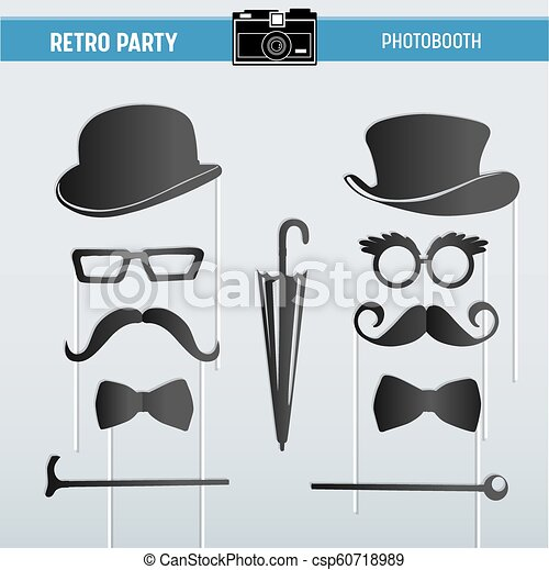 photo relating to Printable Sunglasses named Movember Retro social gathering printable Gles, Hats, Moustaches, Masks for photobooth props within just vector