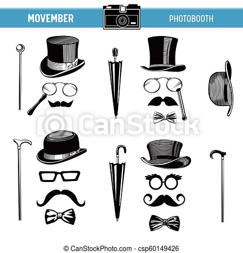 image relating to Printable Moustaches referred to as Movember Retro get together printable Gles, Hats, Moustaches, Masks for photobooth props inside of vector
