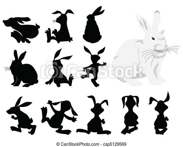 Siluetas negras de un conejo en movimiento. Una ilustración del vector - csp5129569
